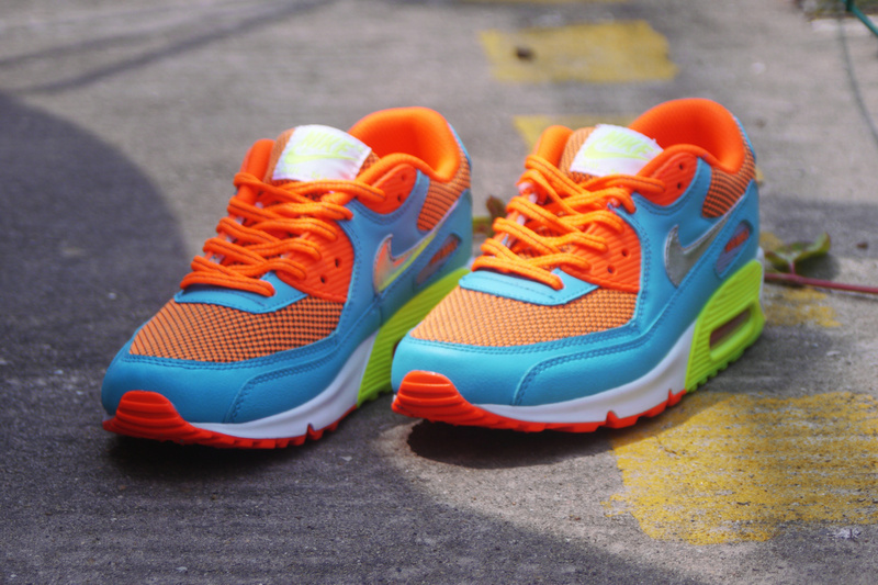 Nike Air Max 90 Orange Blue White Green For Women
