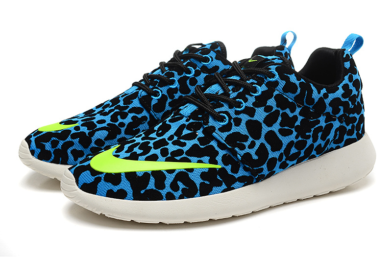 Fashion Nike Rosherun FB Black Blue Green White Running Shoes