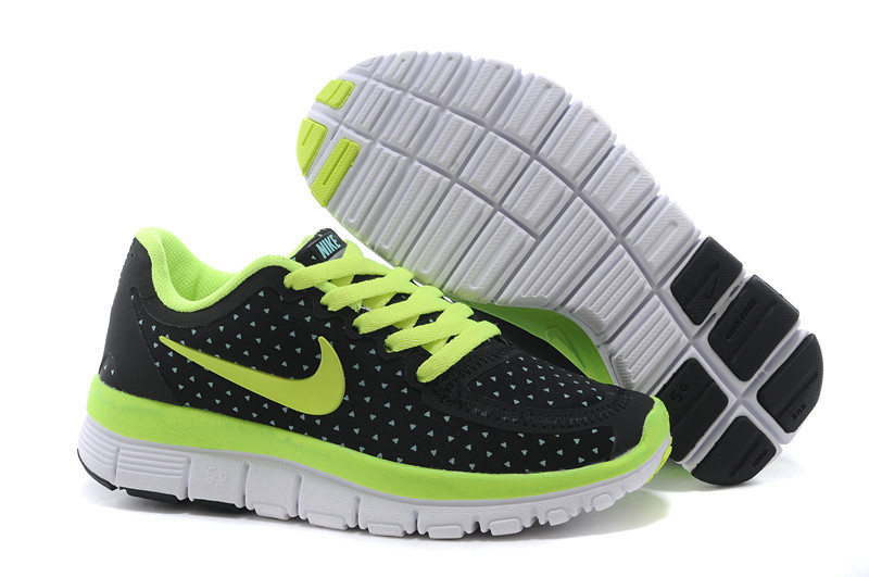 Kids Nike Free 5.0 Black Fluorscent White Running Shoes