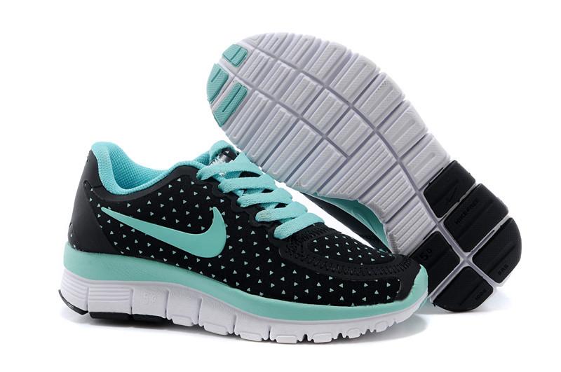 Kids Nike Free 5.0 Black Green Running Shoes