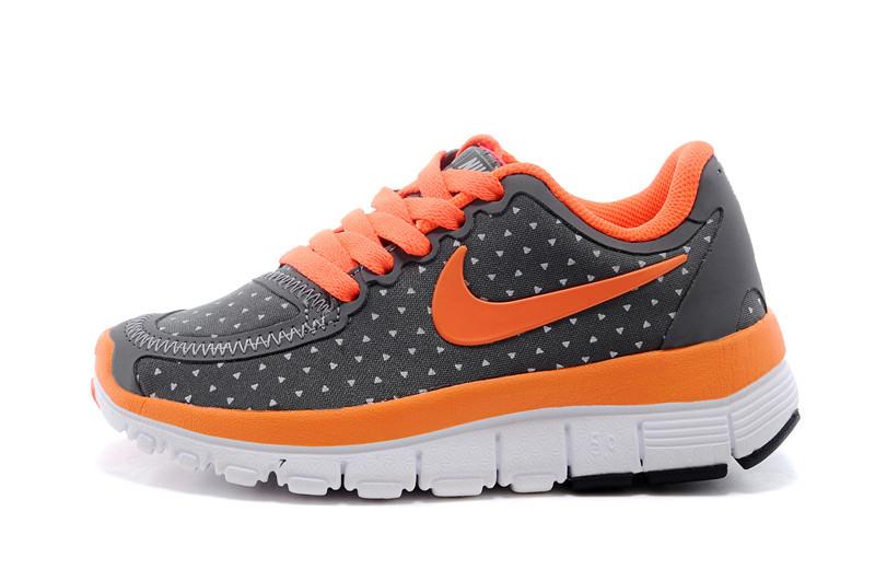 Kids Nike Free 5.0 Black Orange White Running Shoes