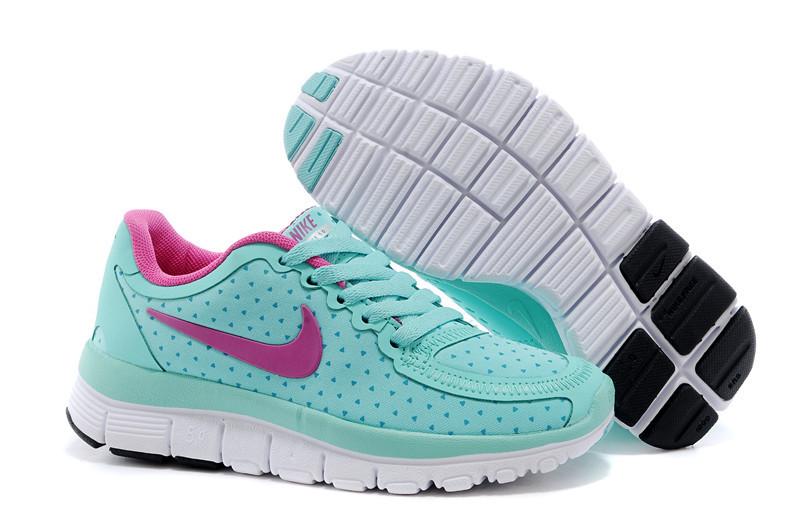 Kids Nike Free 5.0 Green Pink White Running Shoes
