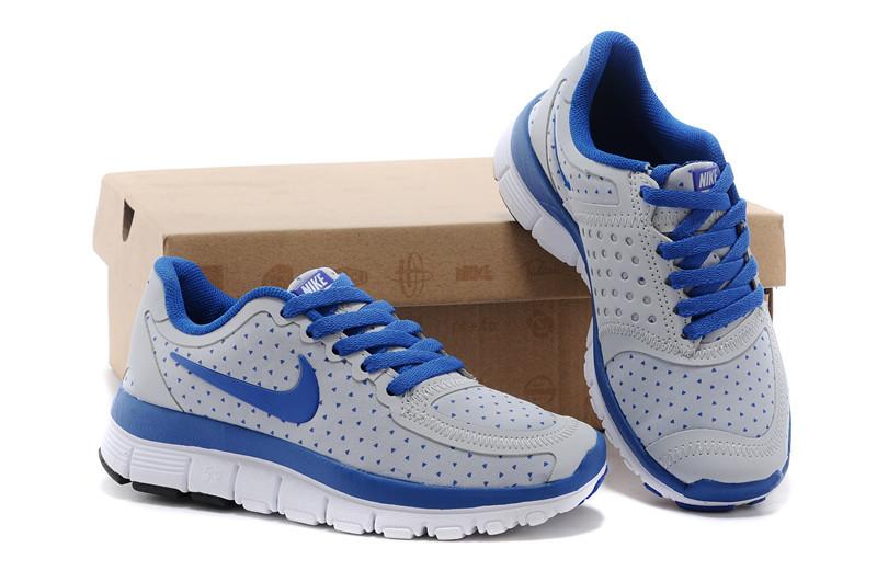 Kids Nike Free 5.0 Grey Blue White Running Shoes