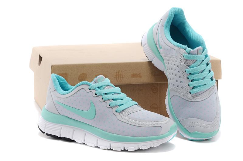 Kids Nike Free 5.0 Grey Green White Running Shoes