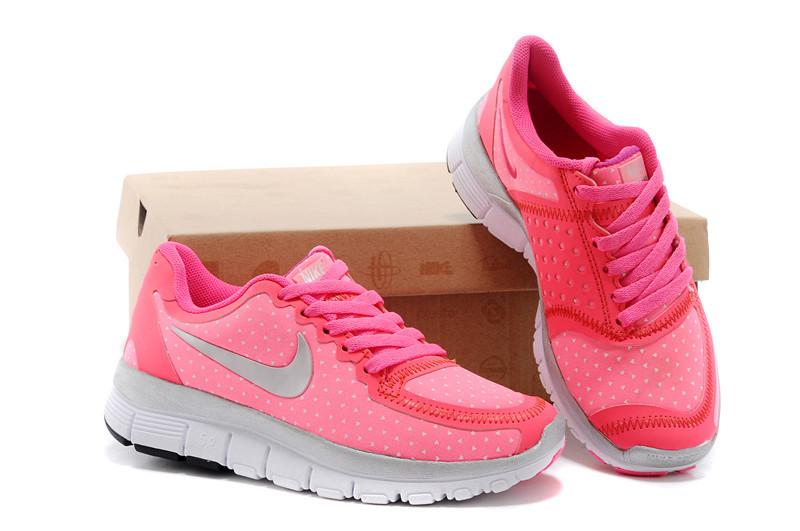 Kids Nike Free 5.0 Pink Grey White Running Shoes