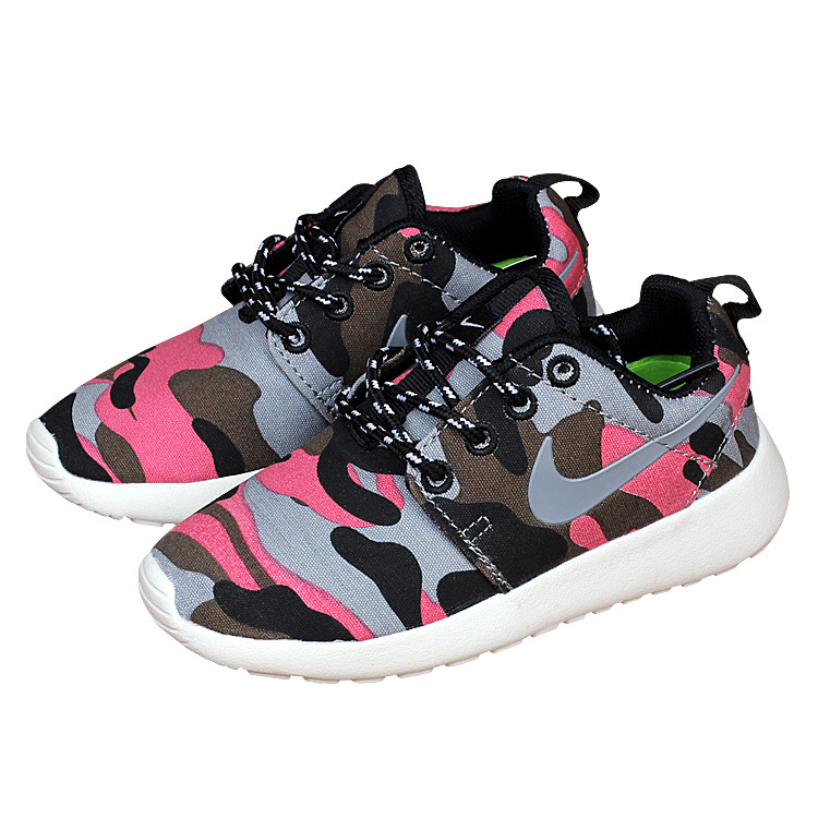 Nike Roshe Run Camo Pink Shoes For Kid