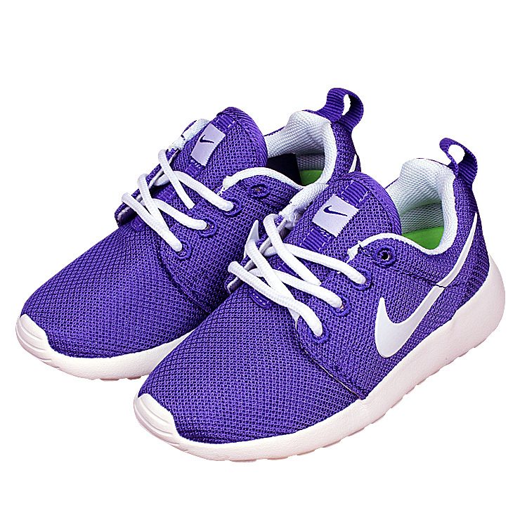 Nike Roshe Run Purple White Shoes For Kid