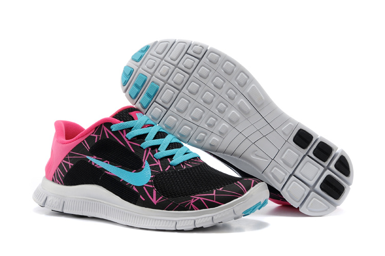 SpecialNike Free Run 4.0 V3 Coloful Black Pink Blue Shoes For Women