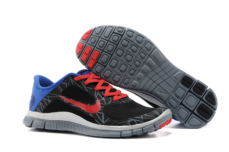 SpecialNike Free Run 4.0 V3 Coloful Black Red Grey Blue Shoes