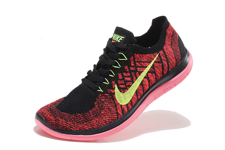 Women Nike Free 4.0 Flyknit Black Red Pink Running Shoes