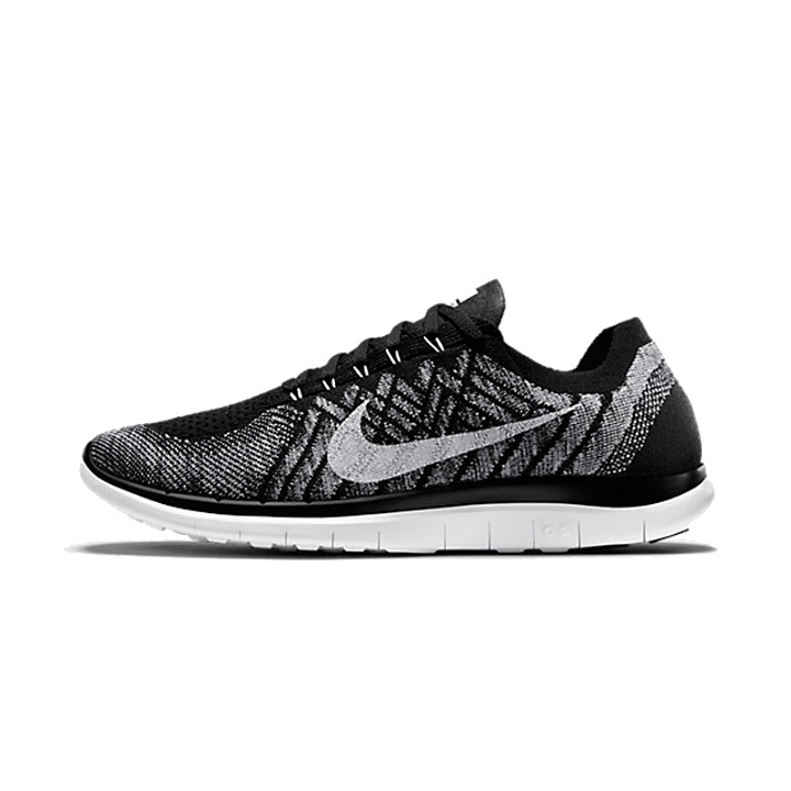 Women Nike Free 4.0 Flyknit Black White Running Shoes