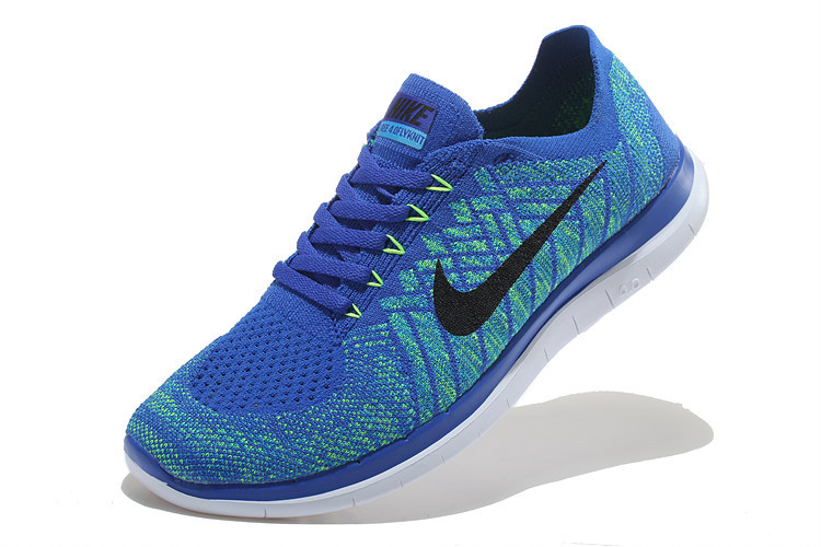 Women Nike Free 4.0 Flyknit Blue Black White Running Shoes