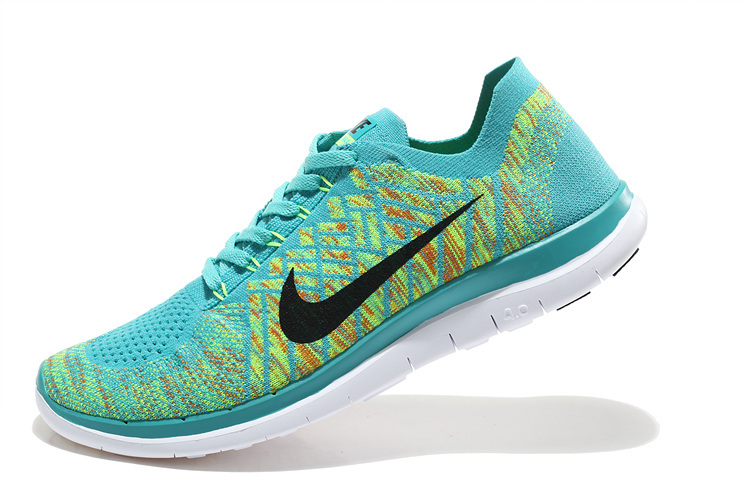 Women Nike Free 4.0 Flyknit Green Black White Running Shoes