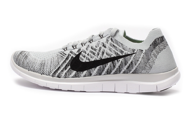 Women Nike Free 4.0 Flyknit Grey Black White Running Shoes