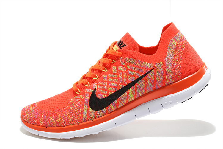 Women Nike Free 4.0 Flyknit Orange Black White Running Shoes