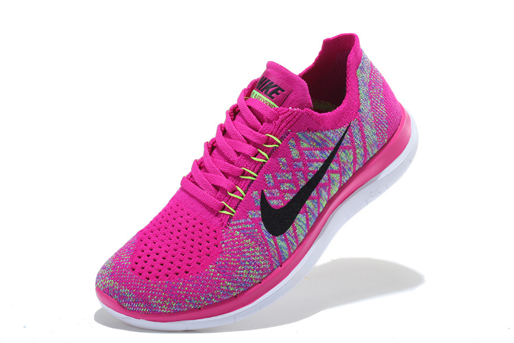 Women Nike Free 4.0 Flyknit Pink Black White Running Shoes