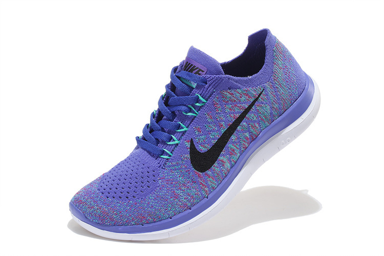 Women Nike Free 4.0 Flyknit Purple Black White Running Shoes