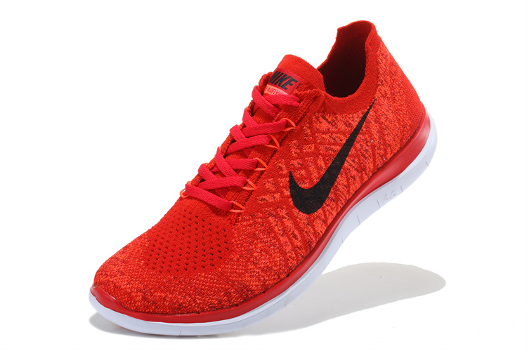 Women Nike Free 4.0 Flyknit Red Black White Running Shoes