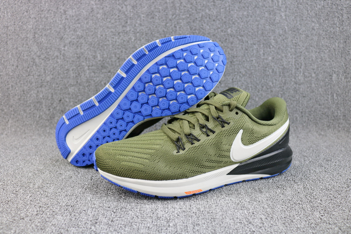 Men Nike Air Zoom Structure 22 Army Green Black White Running Shoes