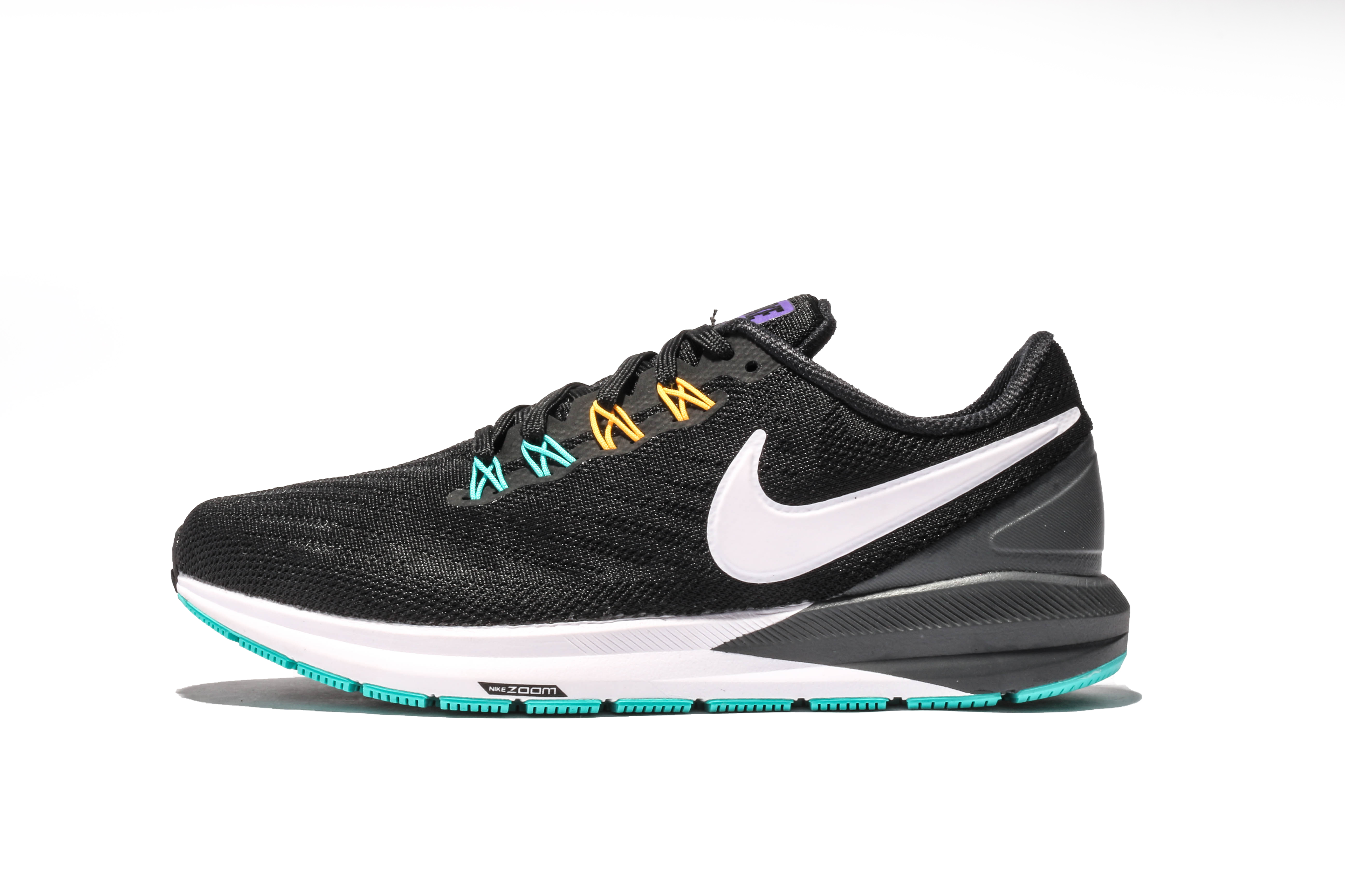 Men Nike Air Zoom Structure 22 Black Jade Yellow Running Shoes