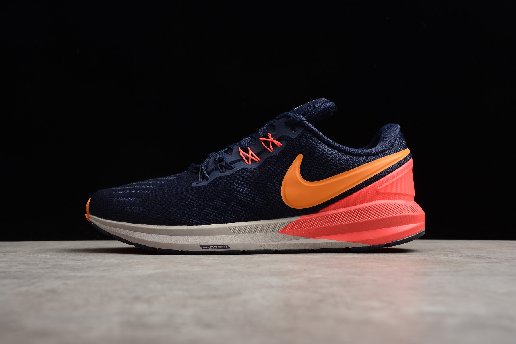 Men Nike Air Zoom Structure 22 Deep Blue Orange Running Shoes