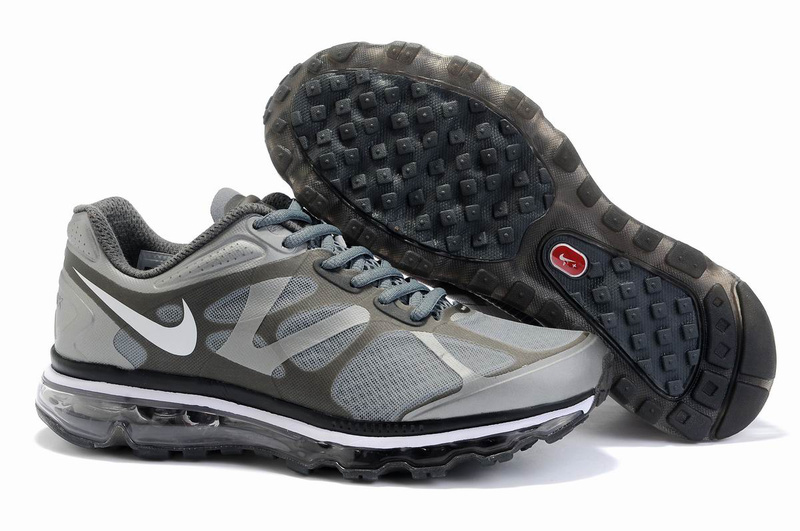 Men Nike Air Max 2012 Grey Black White Logo Shoes