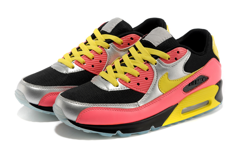 Nike Air Max 90 Colorful Black Silver Yellow Red Shoes
