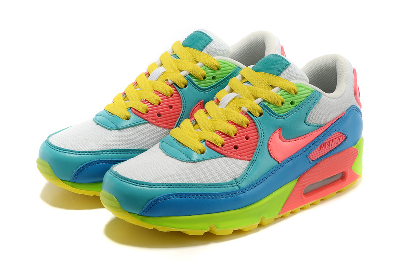 Nike Air Max 90 Colorful Grey Blue Yellow Shoes