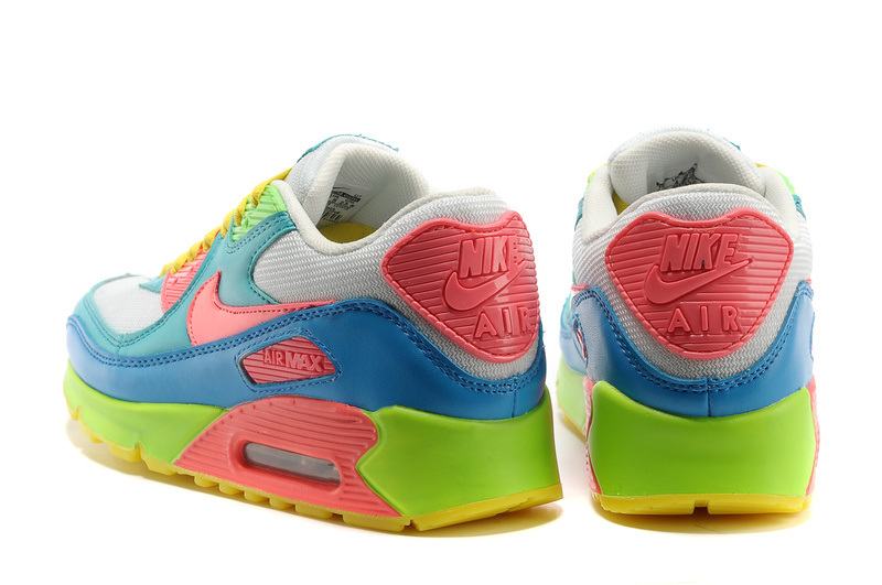 Nike Women Air Max 90 Colorful Grey Blue Yellow Shoes