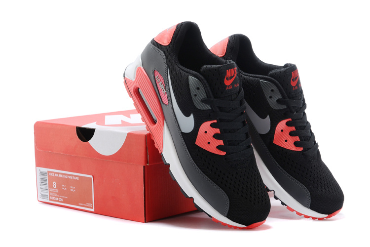 Nike Air Max 90 Knit Black Red White Shoes