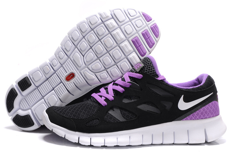 Women Nike Free Run 2.0 Black Purple White Shoes