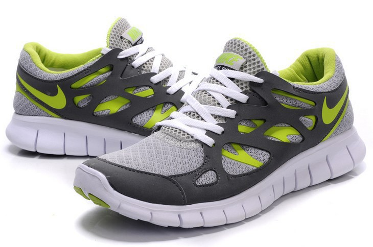 Women Nike Free Run 2.0 Grey White Green Shoes