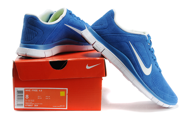 Nike Free Run 5.0 Suede Blue White Shoes