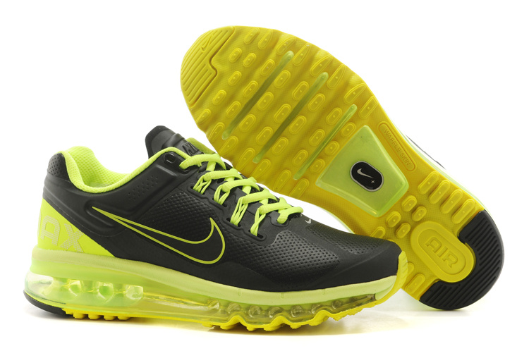 Men Women 2013 Nike Air Max Black Fluorscent Green Running Shoes