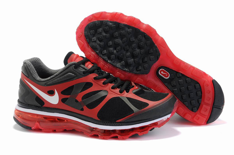 Men Nike Air Max 2012 Black Red White Logo Shoes