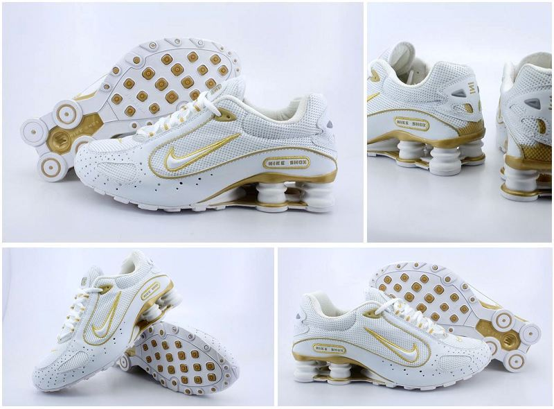 Nike Shox Monster Shoes White Gold Swoosh
