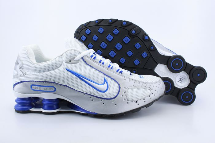 Nike Shox Monster Shoes White Grey Blue Swoosh