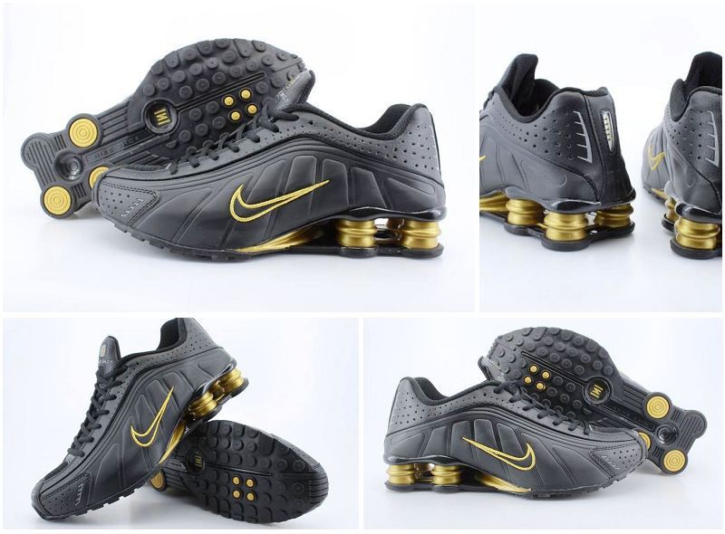 Original Nike Shox R4 Shoes Black Gold