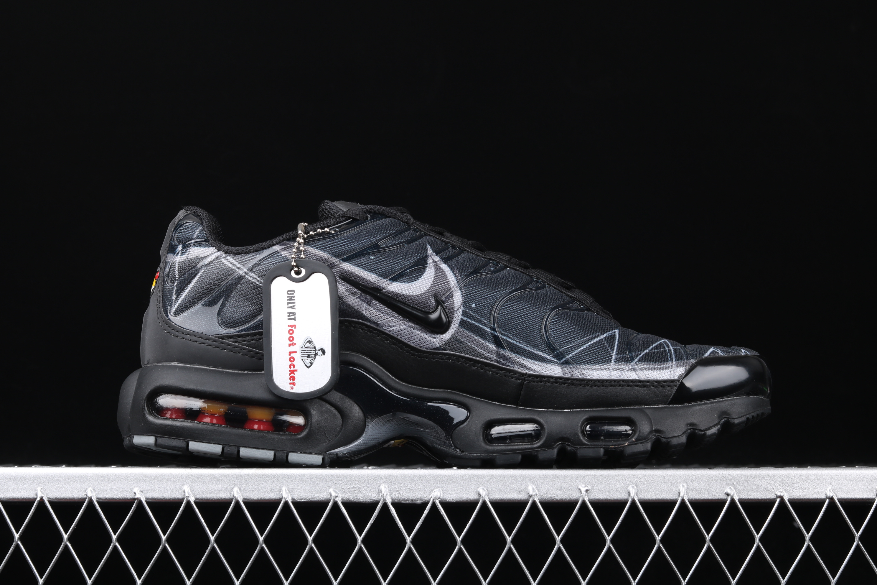New Men Nike Air Max PLUS TXT Black Deep Blue Running Shoes