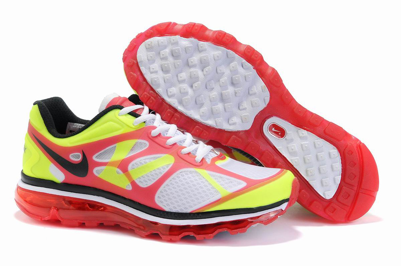 Nike Air Max 2012 White Red Yellow Black Logo Shoes