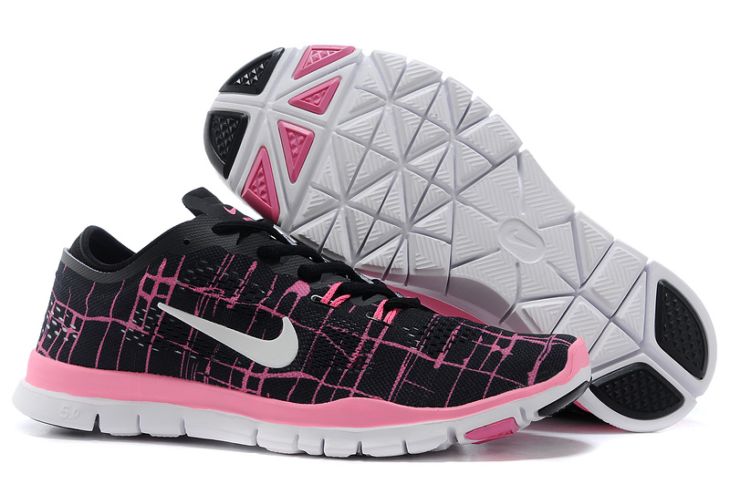 New Women Nike Free Run 5.0 Black Pink White Training Shoes