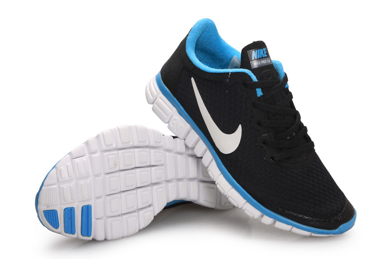 Latest Nike Free Run 3.0 Black Blue White Shoes