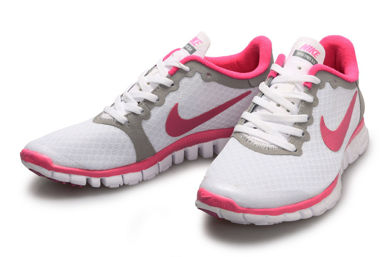 Latest Nike Free Run 3.0 White Grey Pink Shoes