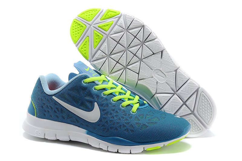 New Nike Free 5.0 Blue Fluorscent Green White Running Shoes