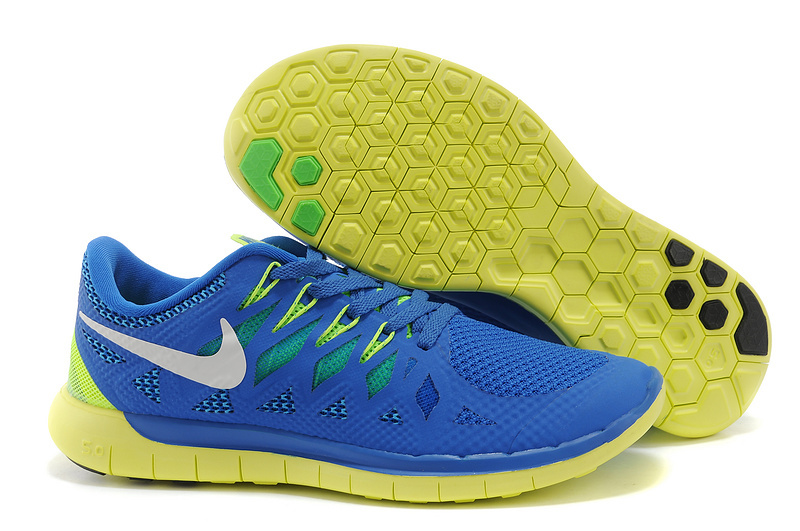 New Nike Free Run 5.0 Blue Yellow Shoes