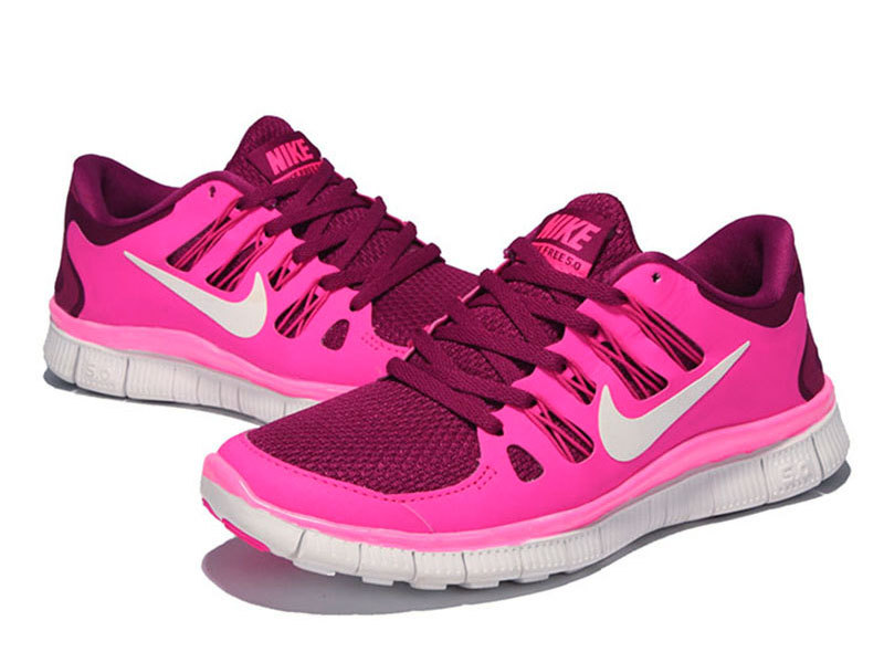 New Women Nike Free Run+3 Pink Red White