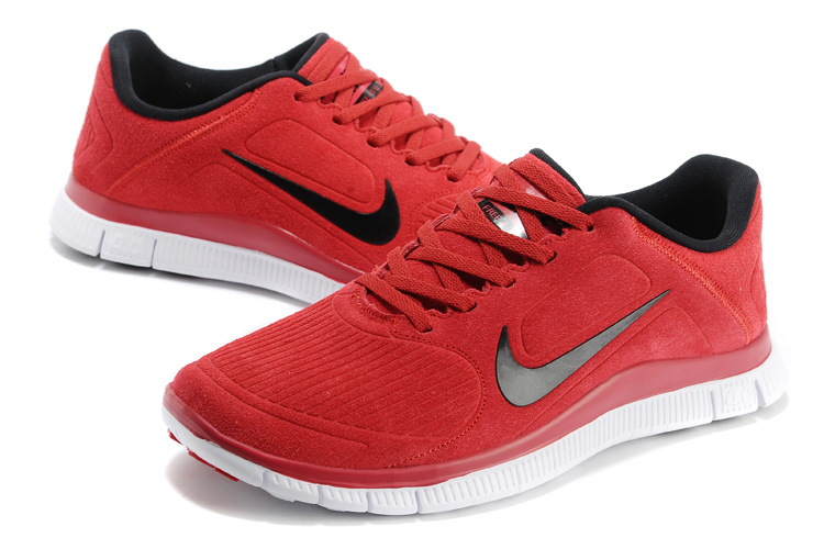 New Nike Free Run 4.0 V3 Suede Red Black White Shoes