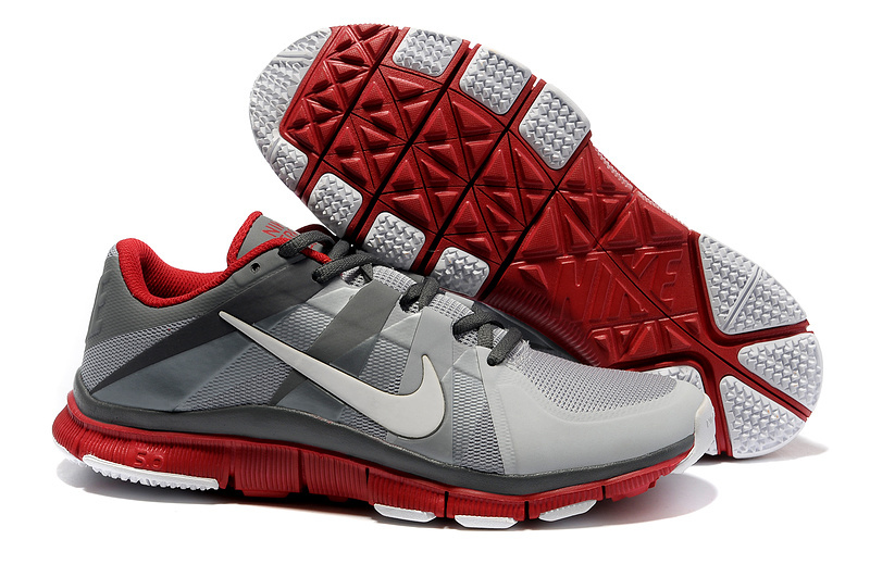 New Nike Free 5.0 Grey Silver Red Shoes