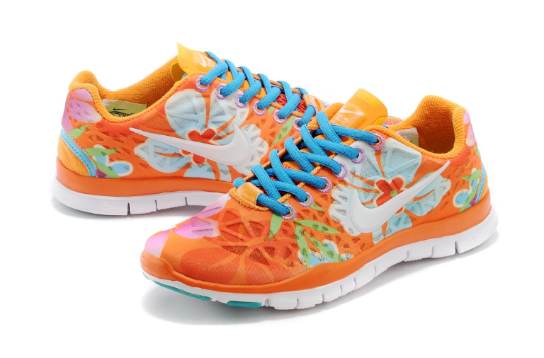 New Women Nike Free Run 5.0 Orange Blue White