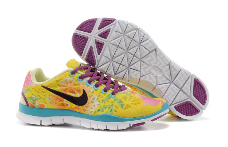 New Women Nike Free Run 5.0 Yellow Purple Blue
